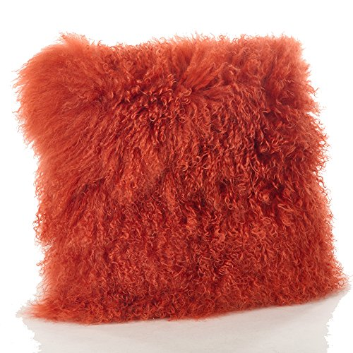 Occasion Gallery Pumpkin Orange Real Genuine Mongolian Lamb Fur Pillow, Filled. 12 x 20 Rectangular.