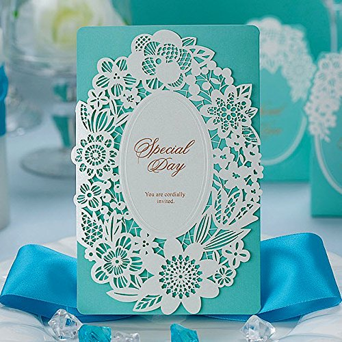 Wishmade Wedding Invitations Cards, Blue, 100 Pieces, CW002, Customized Printing by Wishmade