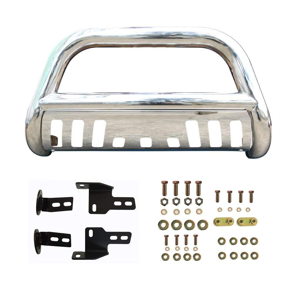 Bull Bar for 1999-2007 GMC Sierra Classic 1500LD Stainless Steel Grill Guard Front Bumper with Skid Plate and Optional Light Holes Super Drive D02G0400