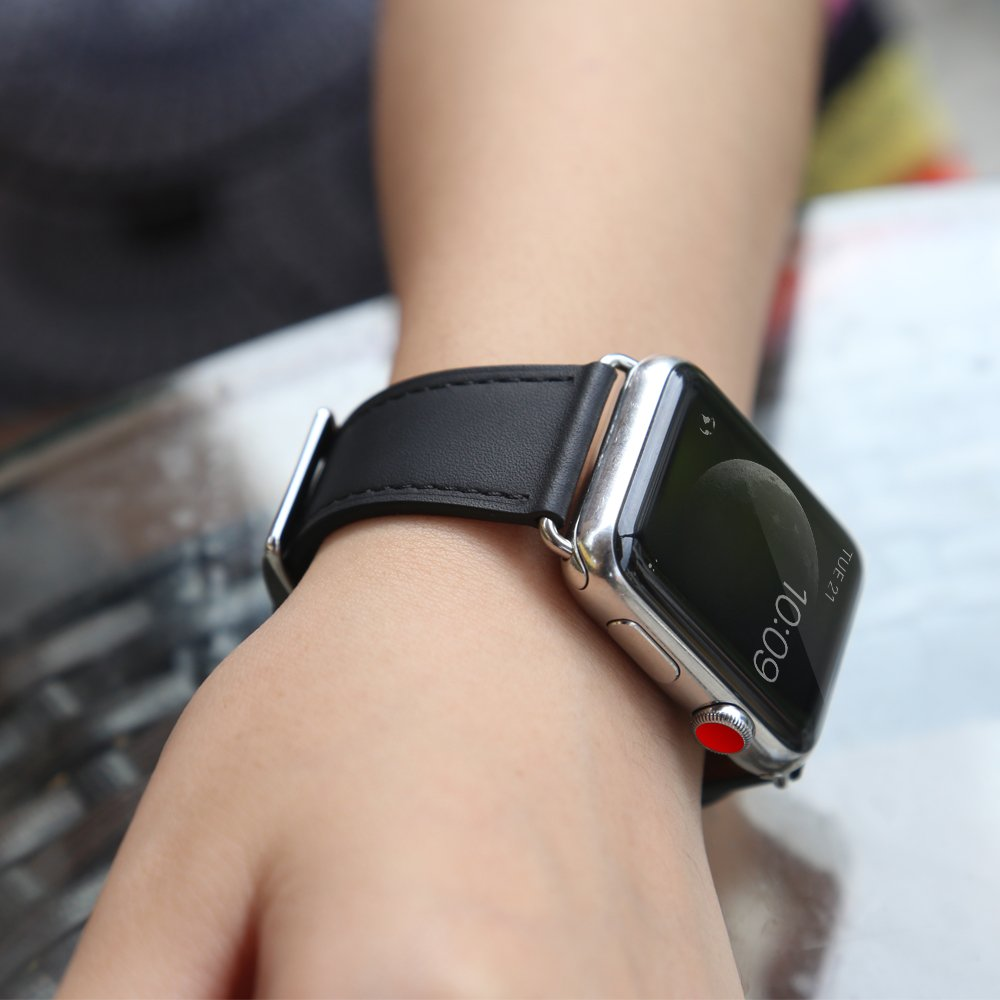 Compatible Apple Watch Band, COVERY 38MM iWatch Band Genuine Leather Strap Stainless Metal Buckle Compatible Apple Watch Series 3, Series 2, Series 1, Sport & Edition- Black by COVERY (Image #4)