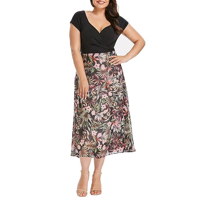 09ab5d567d Women's Plus Size Dress,Floral Print Short Sleeve V Neck Wrap Chiffon Midi  Dresses Prom