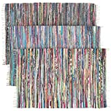 Cotton Rag Rugs Large Rainbow Chindi Area Rag Rug Recycled Cotton Multi-Color Woven Fabric Home Decor For Living Room Bedroom 4x6 Feet