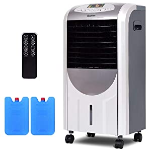 COSTWAY Compact Portable Air Conditioner Air Cooler and Heater with Fan Filter Humidifier Ice Crystal Box Remote Control