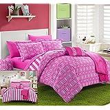 Chic Home 8 Piece Paris Reversible Geometric and Striped Comforter Sheet Set, Twin X-Long, Fuchsia
