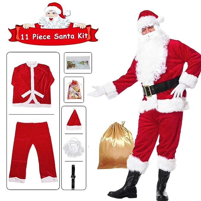 Amazon.com: Disfraz de Santa Claus de franela de Navidad de ...