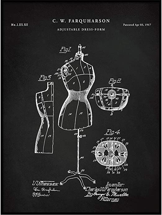 Amazon Com Vintago Adjustable Dress Form 1917 Patent Dress Form Art Invention Diagram Sewing Room Decor Fashion Designer Gifts Poster Print Qp579 Posters Prints
