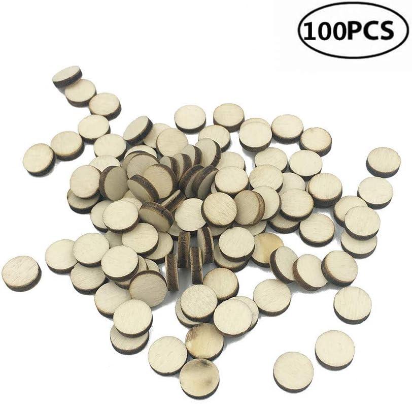 1 cm. 100 piezas de 10 mm redondo natural sin terminar rodajas de madera c/írculos de troncos manualidades DIY fiestas pintura 100 unidades bodas