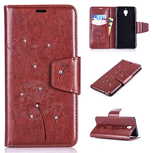 OnePlus 3 Case, OnePlus 3T Case, Everun Luxury 3D Emboss Handmade Bling Crystal Rhinestone PU Flip Magnetic Credit Card Holders Wallet Leather Case Cover for OnePlus 3/OnePlus 3T(2016)