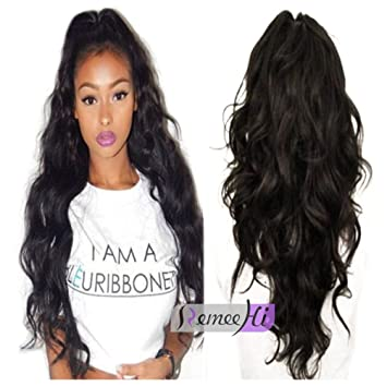 Amazon.com   Remeehi Long Body Wave Full Lace Human Hair Wigs for Black Women  100% Real Human Hair Wigs with Baby Hair Around 22inch 4  Medium Brown   ... bcb608967