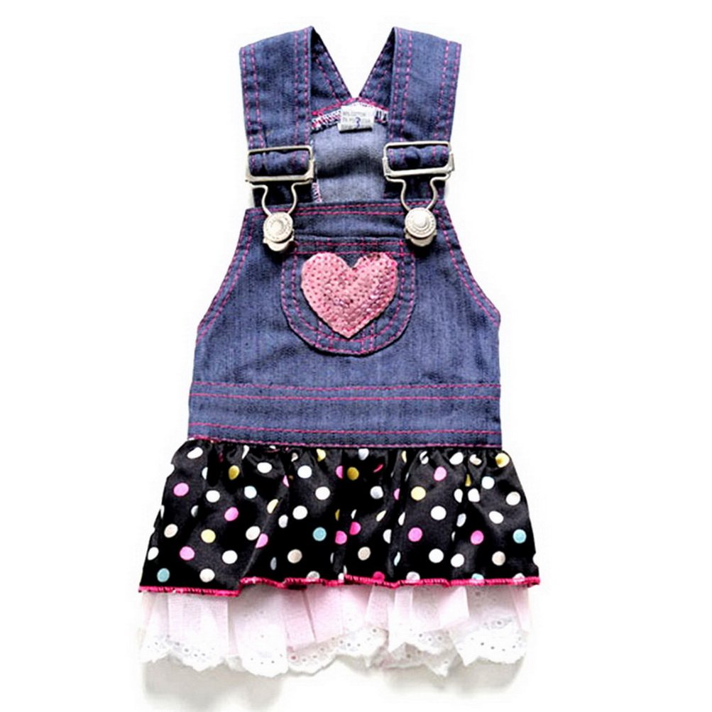 ZUNEA Denim Polka Dots Small Dog Puppy Cat Princess Dress Lace Skirt Pet Daily Clothes Apparel Mesh Costume for Spring Summer Autumn Wear Blue S