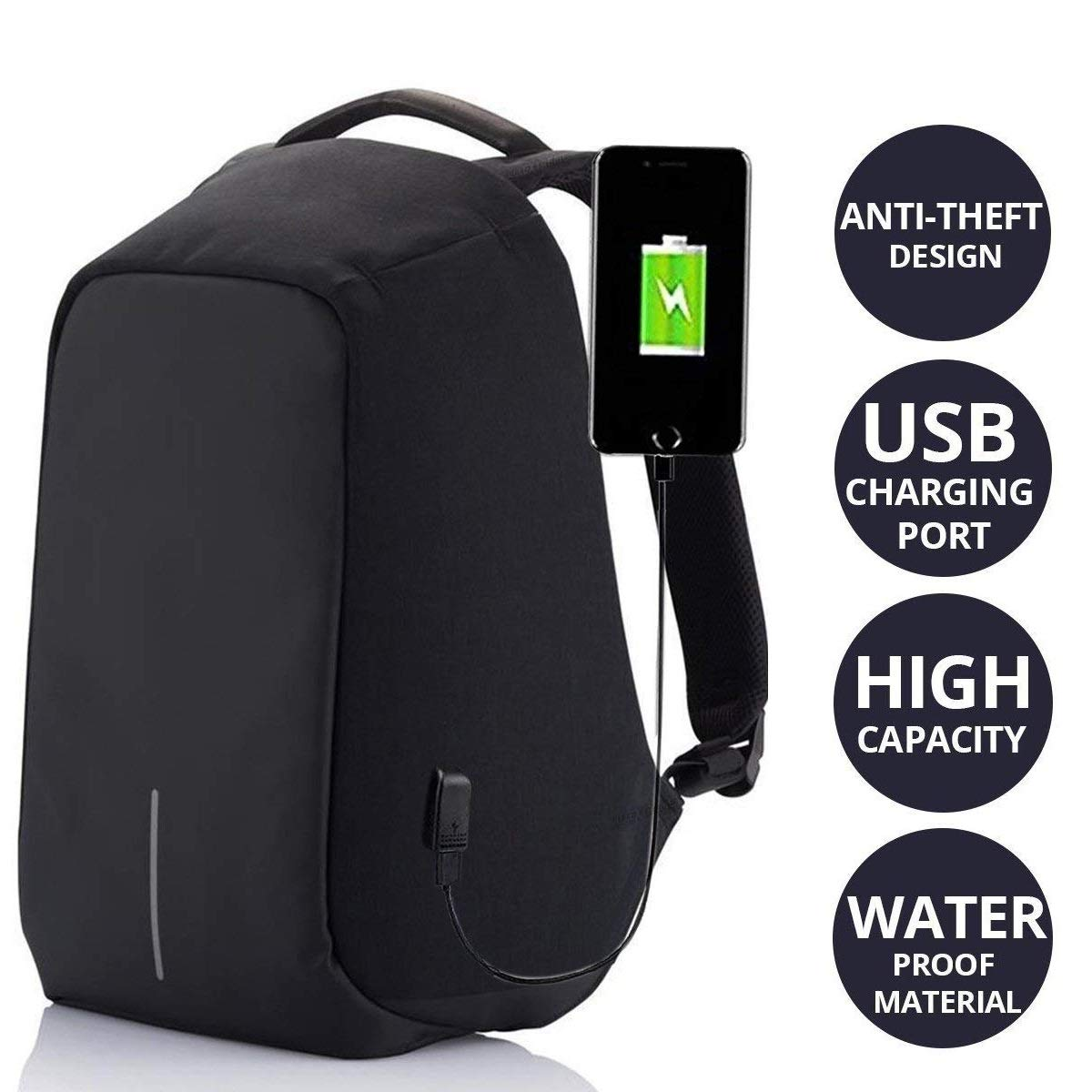 2071ba29f633 Andride Anti Theft Backpack Business Laptop Bag with USB Charging Port  Waterproof Camping Organizer Bag Anti-Theft Bagpack (Black)  Amazon.in  Bags