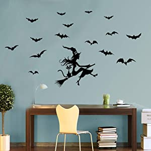 Happy Halloween Wall Stickers, Flying Witch on Broom Bats Wall Decals, Pumpkin Halloween Bat Decal Wall Sticker for Living Room Window Clings Halloween Party Decoration, Removable Vinyl Art Decor