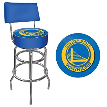NBA Golden State Warriors Padded Swivel Bar Stool with Back