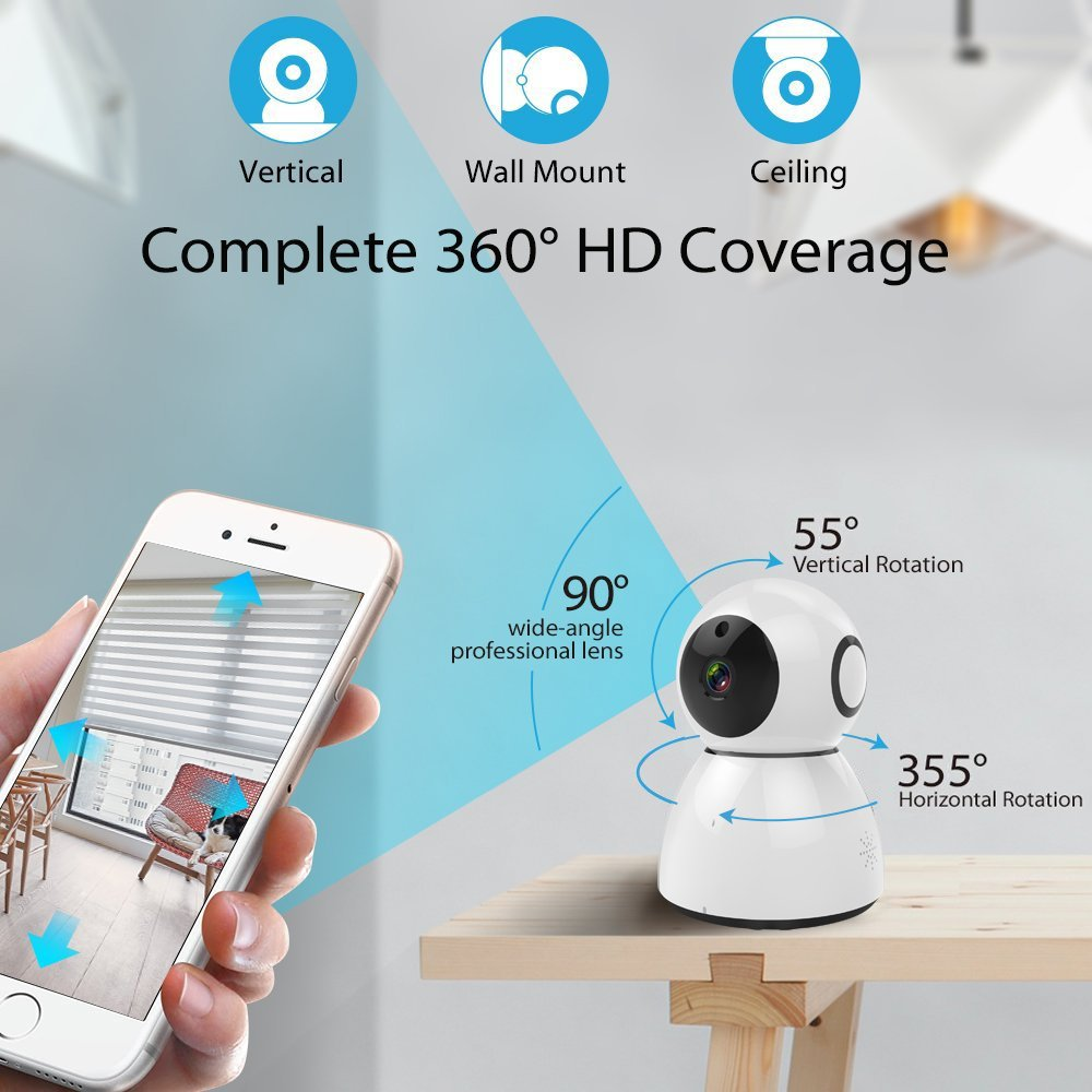 Home Security Camera, HD 1080P WiFi IP Camera, 2 Way Audio,Night Vision, Baby, Pet Security (White) by VTC (Image #4)