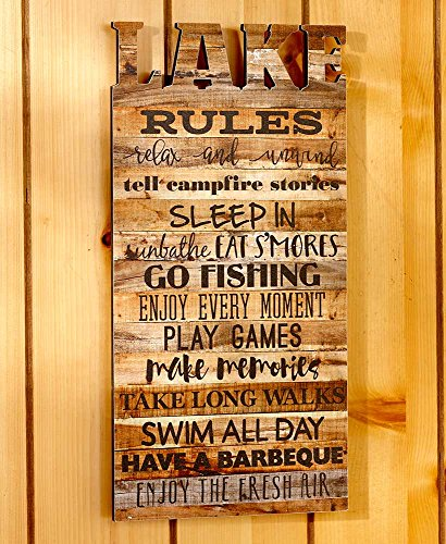 The Lakeside Collection Die-Cut Lake Rules Wall Plaque by The Lakeside Collection