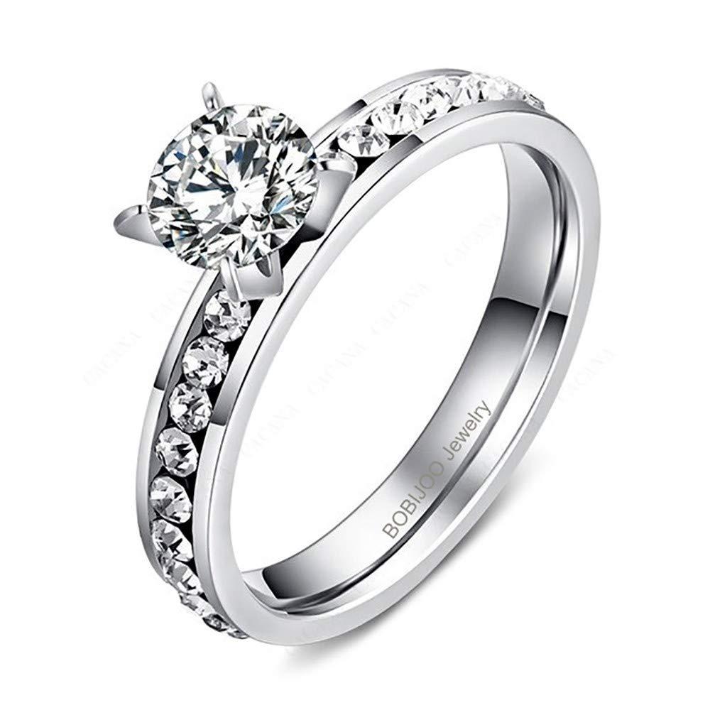 BOBIJOO Jewelry - Bague Solitaire Femme Strass Oxyde Zirconium Acier Argenté Mariage Fiançailles