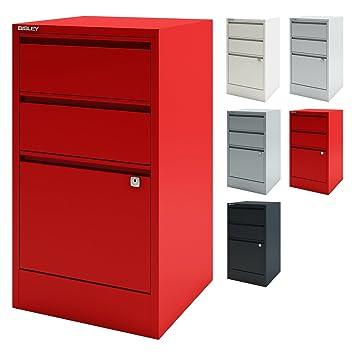 Home Office Beistellschrank | Büro Schubladenschrank mit Griffleiste ...