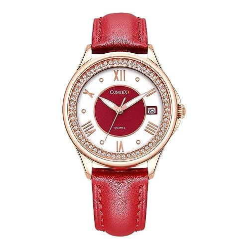 reloj analógico para mujer contex dorado rojo y blanco