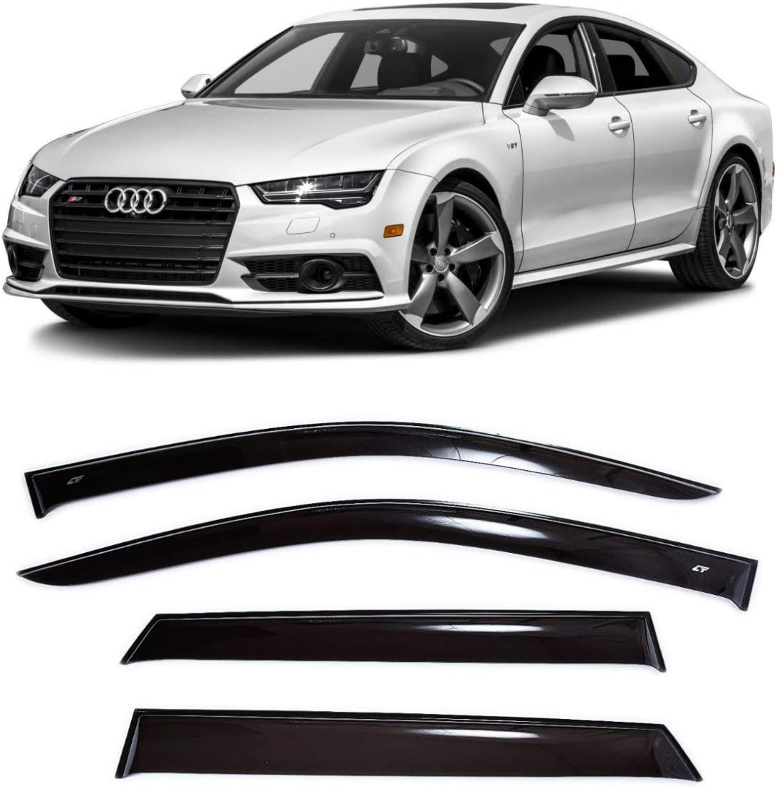 Window Air Guard Deflectors for Protection Against Snow Sun and Rain Compatible with Audi A7 Hb 5d 2010-2017 Dark Smoke Car Ventvisor Door Side CT Wind Visor Deflectors Set of 4-Piece