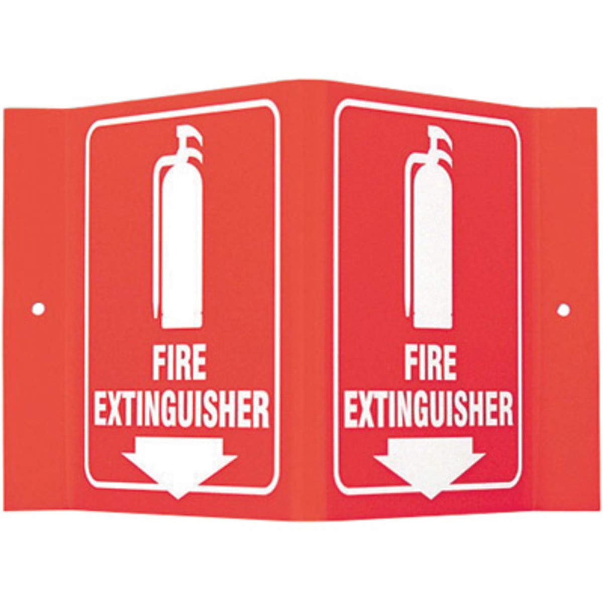 Brady 6'' X 8'' X 4'' White On Red Acrylic Safety Sign''Fire Extinguisher''