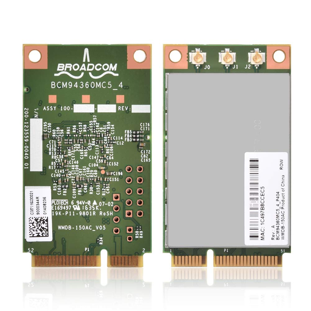 Richer-R Wifi Card, BCM94360MC5 1300Mbps 802.11ac Mini Wireless PCi-E Wifi Card Provide a Faster and Stable Experience Support Win7,Win8, Win10 Operating System for Equipment with Mini Pci-e Interface