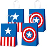 16 PCS Party Favor Bags for Superhero Birthday Party Supplies, Party Gift Goody Treat Candy Bags for Superhero Party Favors D