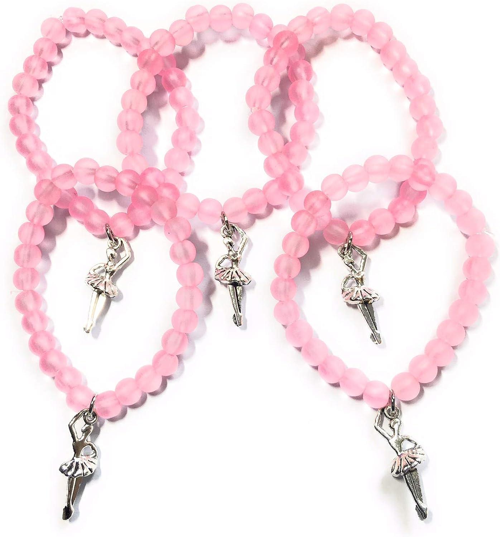 FizzyButton Regalos Set de 5 pulseras de bailarina, cuentas elásticas de color rosa para bolsas de regalo de cumpleaños