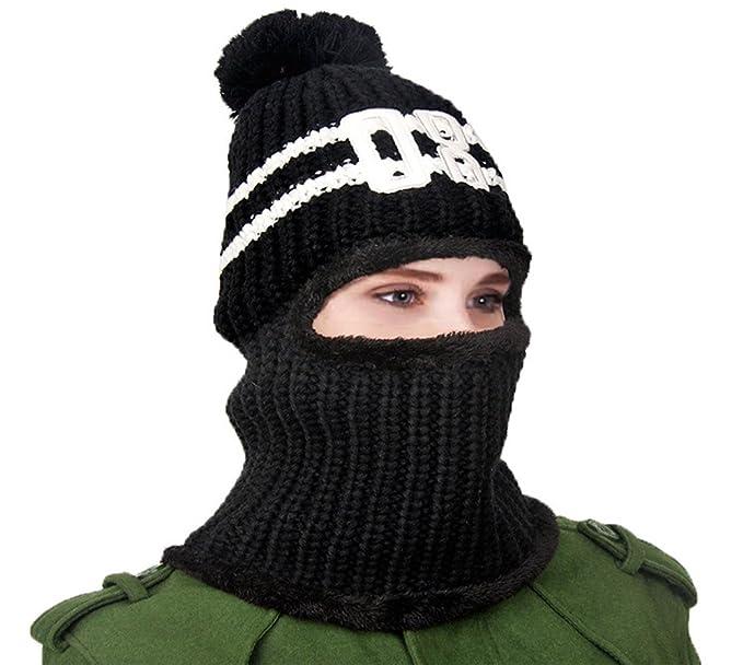 Qunsia Windproof Balaclava Ski Face Mask Knit Neck Warmer Hood Pom ... 36a81d73ada1