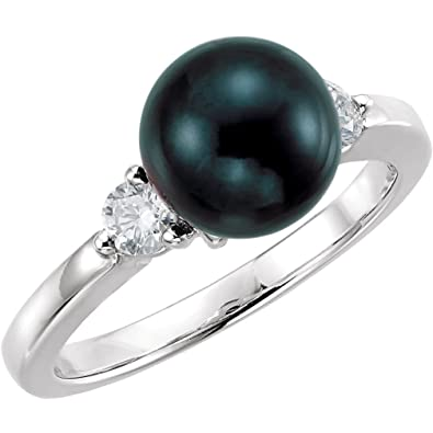 b091be0ca Black Akoya Cultured Pearl and Diamond Ring, Rhodium-Plated 14k White Gold  (8mm) (.25Ctw, G-H Color, I1 Clarity)