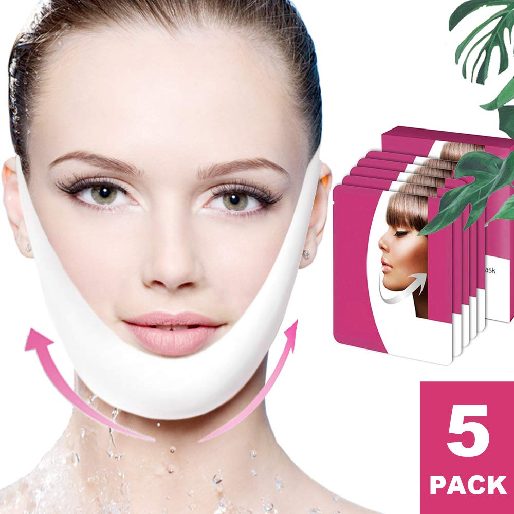 V Line Mask, Chin Up Patch, Double Chin Reducer, V-Shape Lifting Up Face Mask - Anti Age Face Slimming Lifting Patch for Wrinkles, Tightening Firming Face & Neck - 5 Strips by Skywee