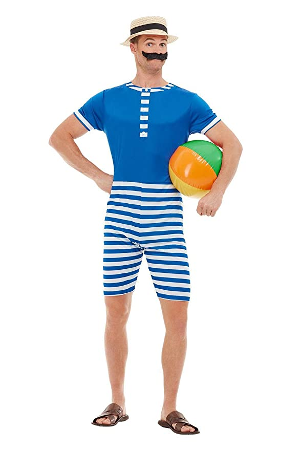 Retro Clothing for Men | Vintage Men's Fashion Smiffys 50726XL 20s Bathing Suit Costume Men Blue & White XL - Size 46-48