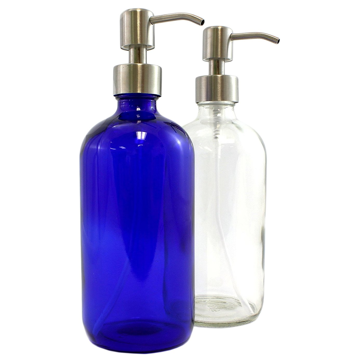 Cornucopia Brands Clear & Cobalt Blue 16-Ounce Glass Bottles with Stainless Steel Pump Nozzles Included (2 Pack); Empty Multipurpose Bottles Ideal for Lotion & Liquid Soap
