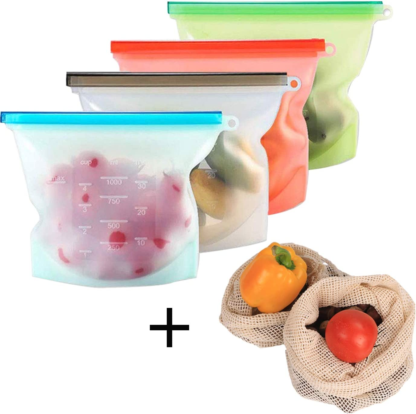 Reusable Silicone Food Storage Bags,4 Medium Silicone Bags & Freezer Bags,Airtight Seal Food Preservation Bag for Vegetable,Liquid, Snack, Meat, Sandwich, Fruit with 2 Produce Bags