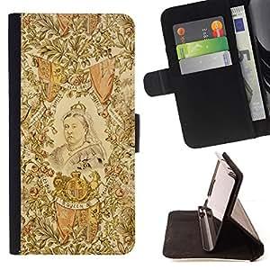 BullDog Case - FOR/HTC Desire 820 / - / royal portrait art woman painting queen /- Monedero de cuero de la PU Llevar cubierta de la caja con el ID Credit Card Slots Flip funda de cuer