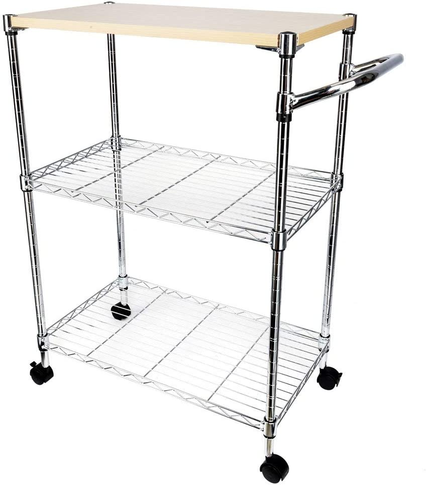 Henf Bakers Rack,3 Tier Kitchen Corner Shelf Microwave Oven Cart for Dining Stand Storage Organizer Workstation with MDF Board on Wheel White