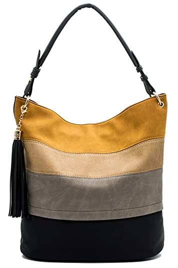a4ea4a449439 Amazon.com  Handbags for Women Totes Hobo Shoulder Bags Tassels Stripes Top  Handle Bags Black  Shoes