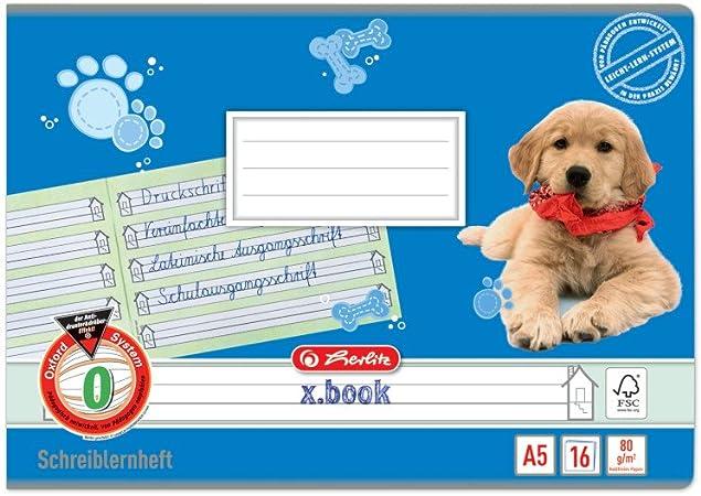 32 Blatt Herlitz Heft A5 Lineatur 01-10 80 g//m/² wei/ß liniert mit Rand Alle Lineaturen von 01-10 je 5 St/ück holzfreies Papier