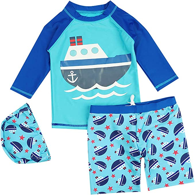 Baby Little Boy Rash Guard Set Long Sleeve Swimwears Swim Set UPF 50+