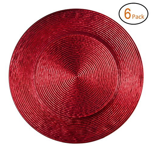 Fantastic:)TM Round 13Inch Plastic Charger Plates with Eletroplating Finish (6, Shinny Circle Red)