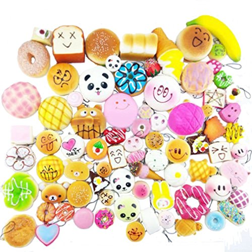 Slow Rising Squishy, TopRay 20pcs Jumbo Medium Mini Soft Squishies Cake/Panda/Bread/Buns Phone Straps, Random Style