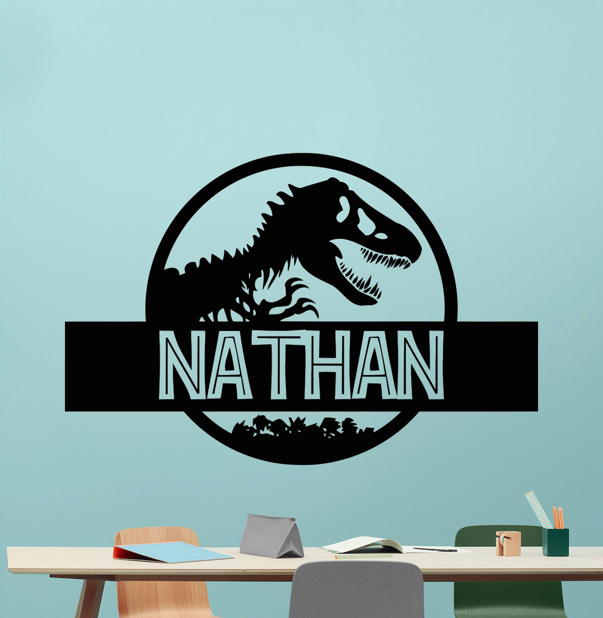 Custom Name Jurassic Park Logo Wall Decal Personalized Decal - 3d dinosaur wall decalsd dinosaur wall stickers for kids bedrooms jurassic world wall