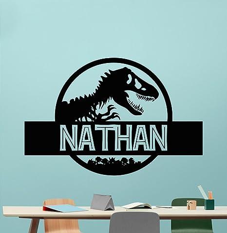 e4cfddd0c Custom Name Jurassic Park Logo Wall Decal Personalized Decal Tyrannosaur  Vinyl Sticker Dinosaur T-Rex