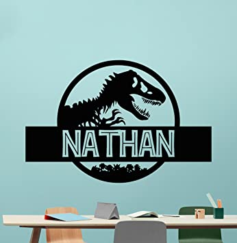 Custom Name Jurassic Park Logo Wall Decal Personalized Decal - Custom vinyl wall decals dinosaur