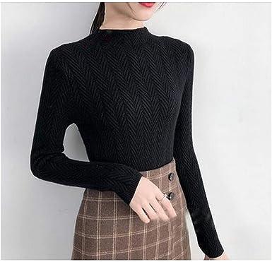 Suéter de Mujer Camisa de Fondo Delgado Camisa de Punto ...