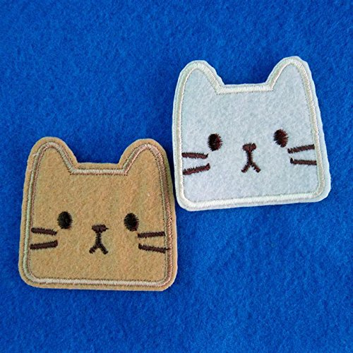 2 Piece Set Cat Kitty Face Embroidery Iron on Patch / Applique / Sewn On