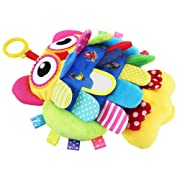 TEYTOY Soft Baby Toy, Flip Owl Early Education Toys Activity Crinkle Cloth Soft Rattle Toys My First Stroller and Travel Activity Toy BPA-free for 0-36 Months