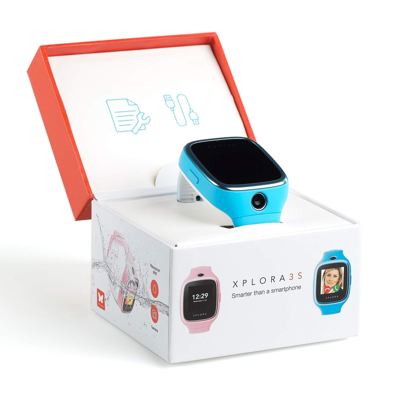 XPLORA 3S - Teléfono Reloj Resistente al Agua, RTOS, Bluetooth, SOS, GPS y Cámara, Azul