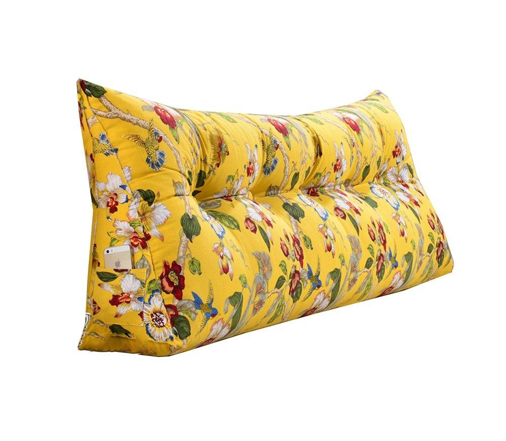 取り外し可能な三角クッション/枕ダブルベッドソフトバッグベッドクッションベッド背もたれ黄色の花柄 (サイズ さいず : 135 * 50 * 20cm) B07DK58WWT 135*50*20cm  135*50*20cm