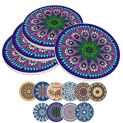 Coasters for Drinks Absorbent,Ceramic Stone Boho Coaster Set with Cork Backing,10 Colors,3.9 Inch (4-Piece, Style-H)