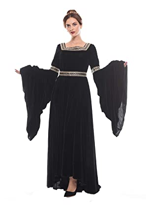 e8831e11f4 Amazon.com  Womens Medieval Victorian Costume Dress Renaissance Asymmetric  Fancy Dresses  Clothing